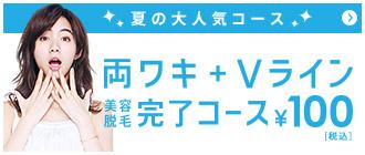【夏の大人気コース】両ワキ+Vライン美容脱毛完了コース \100(税込)