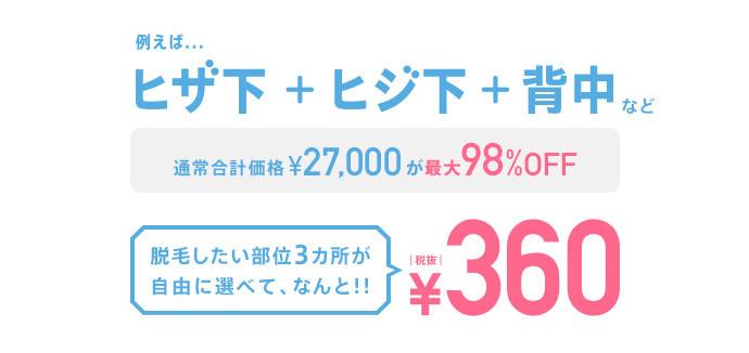 例えば...ヒザ下+ヒジ下+背中など 通常合計価格¥27,000が最大98%OFF 脱毛したい部位3カ所が自由に選べて、なんと!!¥360(税抜)
