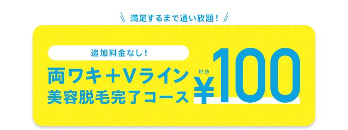 """""""両ワキ+Vライン美容脱毛完了コース100円"""""""